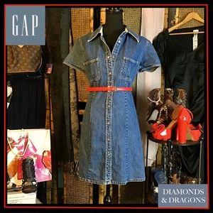 Vintage Gap 1990's Denim Snap Front Collared Dress